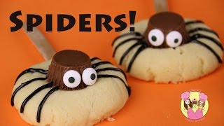 Download SPIDER HALLOWEEN COOKIE POPS - Reeces peanut butter cups - cute kids baking video Video