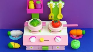 Download Wooden toy kitchen for children and cooking velcro cutting toy food vegetables Video