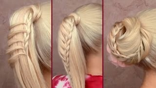 Download Cute back to school hairstyles for everyday Braided ponytail Top knot updo for long hair tutorial Video