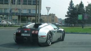 Download Bugatti Veyron с охраной. В Питере на бензоправке Кириши! Video