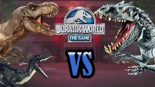 Download Rexy & Blue VS Indominus Rex!! | DINO BATTLES! | Jurassic World - The Game | #1 Video