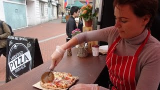 Download Delicious Italian Street Food by ″Woodfired Pizza Handmade″ on a mobile cycle oven in Reading Market Video