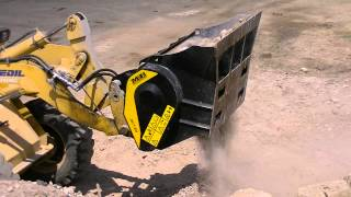 Download MB-L Crusher Bucket working on a backhoe loader Video