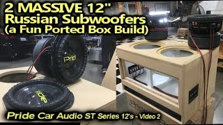 Download Ported Box Build - 2 MASSIVE Russian Carbon Fiber 12″ Subwoofers - Wired up & Test listen video 2 Video