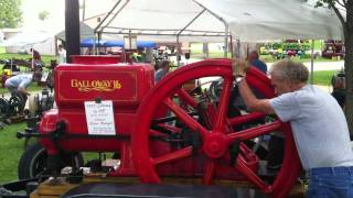 Download Starting 16hp Galloway hit miss antique gasoline engine Video