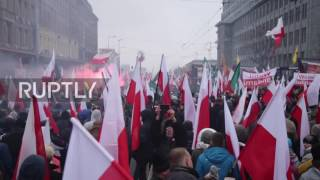 Download Poland: Red flares burn as nationalists celebrate Polish independence Video