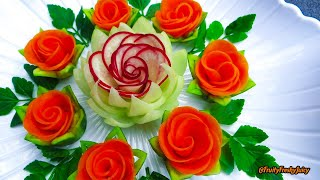 Download Attractive Garnish of Radish & Carrot Rose Flowers with Onion & Cilantro Designs Video