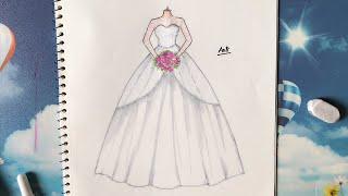 Download How to Draw a Wedding Dress 24 - Vẽ Váy Cưới - An Pi TV Coloring Video