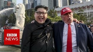 Download Trump Kim: Impersonators buddy up in Singapore - BBC News Video