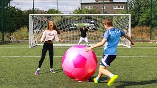 Download GIANT FOOTBALL CHALLENGES vs MY SISTER Video