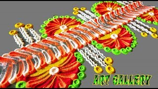 Download How to make Beautiful Border/Side Rangoli designs step by step Video