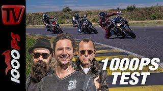 Download 1000PS Test - Power Nakedbike Vergleich - Tuono gegen SuperDuke, S1000R, Street Triple RS und MT10 Video