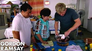 Download Gordon Ramsay Helps Prepare Food For A Malaysian Dinner Party | Gordon's Great Escape Video