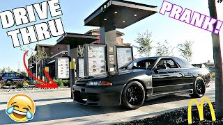 Download Reverse Drive Thru Prank With Right Hand Drive Nissan Skyline GTR!! Video