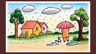 Download How to Draw Rainy Season Scenery for Kids | Step by Step Village Scenery Drawing | Rain Drawing Video