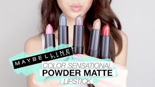 Download NEW Maybelline Color Sensational POWDER MATTE Lipstick Swatches! Video