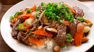 Download Beef and mushrooms stir-fried over rice (Soegogi-beoseot-deopbap: 쇠고기버섯덮밥) Video