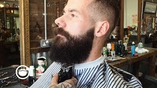 Download Slicked Back Army Fade with a Square Beard at the Barbershop Video