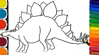 Download How to draw Dinosaurs, Coloring pages, How to draw and paint, Learning Colors Video