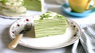 Download MATCHA CREPE CAKE recipe - Cách làm bánh CREPE TRÀ XANH NGÀN LỚP (How to make mille crepe) Video
