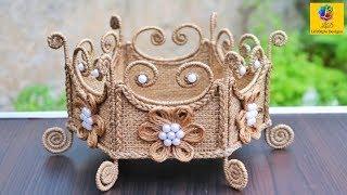 Download Jute Basket   DIY Rope Flower Basket from waste cardboard   Jute and Cardboard Craft Video