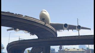 Download GTA 5- Big Airbus 'a380' Emergency Landing at Rounded Bridge Video