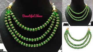 Download Designer Beads Necklace/Latest Beads Necklace Making at Home/Designer Beads Step Chain Necklace/DIY. Video