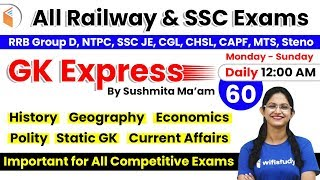 Download 12:00 AM - All Railway & SSC Exams | GK by Sushmita Ma'am | Important GK Questions (Day-60) Video
