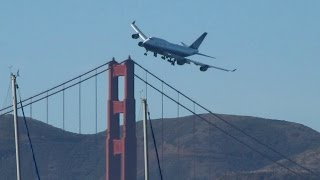 Download United Boeing 747 Dramatic Low Pass Over Golden Gate, San Francisco Fleet Week 2010 Video