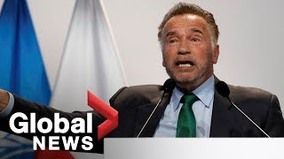 Download Arnold vs. Donald: Schwarzenegger takes shots at Trump during COP24 Video