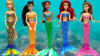 Download Mermaids Makeup Ariel Rapunzel Belle Mulan Mermaid Tail & Costumes Change Disney Princess DOLL Video