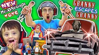 Download GRANNY gives HELLO NEIGHBOR TOYS to FGTEEV & She plays GRANNY 2! (Car Escape Ending) Video