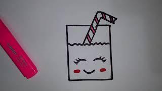 Download رسومات بسيطة وجميلة| تعليم الرسم للاطفال| تعلم رسم كوب عصير برتقال كيوت Video