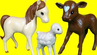 Download Farm Animals - Playing Jumping- Silly sounds - Toy Horse Goat Kid Lamb Hen Chicken Cow Video
