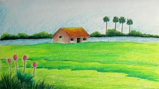 Download How to Draw a Village Landscape with Oil Pastels | Episode- 11 Video