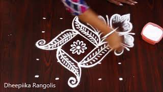 Download simple and easy rangoli design with 5x5 dots ll small daily kolams ll Apartment rangoli designs Video