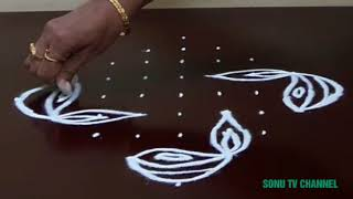 Download 9 DOTS KOLAM    RANGOLI FOR DIWALI    STRAIGHT DOTS    CHUKKALA MUGGULU    HOW TO DRAW    Video