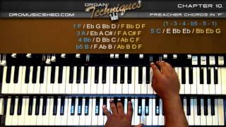 Download Organ Preacher Chords in F (Organ Techniques) How to play Gospel Organ Tutorial Video