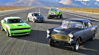 Download SEMA Drag Race: Hellcat vs Blasphemi vs Jeep FC vs Sonic! - 2014 SEMA Week Ep. 5 Video