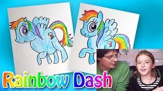 Download Как рисовать Пони Rainbow Dash из мультика My Little Pony | Развивающий урок рисования для детей Video