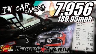 Download Ramey Racing: 7.956 at 189.95mph FWD Small Tire Turbo Honda in car View! Video