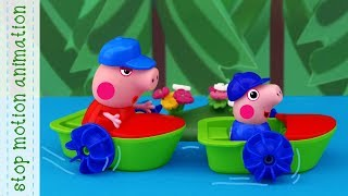 Download boat competitions Peppa Pig TV toys stop motion animation Video