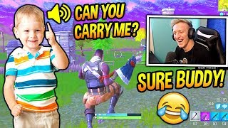 Download TFUE PLAYS FORTNITE WITH A CUTE LITTLE KID! *ADORABLE* Fortnite SAVAGE & FUNNY Moments Video