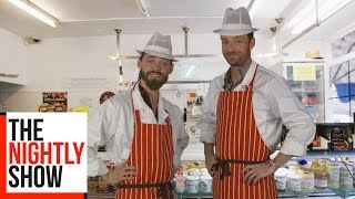 Download Ross Marquand And Tom Payne from The Walking Dead Promote Rossiters Butchers | TNS Online Exclusive Video