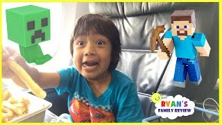 Download Surprise Toys Opening Challenge Minecraft Kid On the Airplane going home with Ryan's Family Review Video