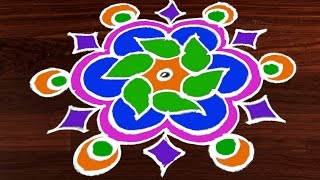 Download Easy Rangoli Art Designs with Kolam Design | 5 to 3 Interlaced Dots | Rangavalli by Sunitha #211 Video