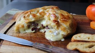 Download Baked Stuffed Brie - Brie en Croute stuffed with Cranberries & Walnuts Video