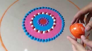 Download Dussehra Special Big Beautiful Creative easy Rangoli Design By Bucketful Creation Video