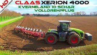 Download Claas Xerion 4000 @ Kverneland 10 Schar Volldrehpflug beim pflügen Video