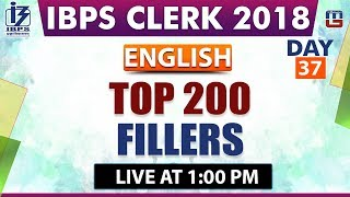Download Top 200 | Fillers | IBPS Clerk 2018 | English | Day 37 | 1:00 pm Video